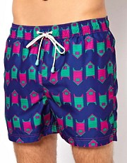 Oiler &amp; Boiler Exclusive Beach Hut Swim Shorts