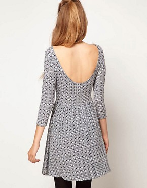 Image 2 ofASOS PETITE Exclusive Skater Dress In Geo Print