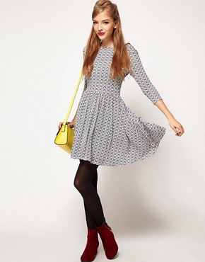 Image 4 ofASOS PETITE Exclusive Skater Dress In Geo Print