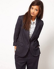 ASOS Super Soft Blazer In Pinstripe