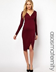 ASOS Maternity Midi Dress With Wrap Skirt