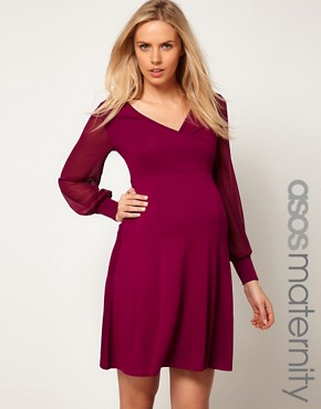 Image 1 ofASOS Maternity Exclusive Dress With Chiffon Sleeve