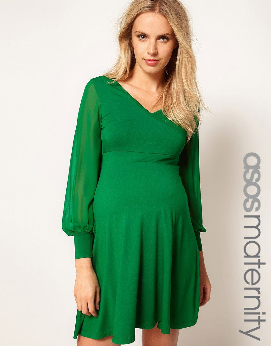 Image 1 of ASOS Maternity Exclusive Dress With Chiffon Sleeve