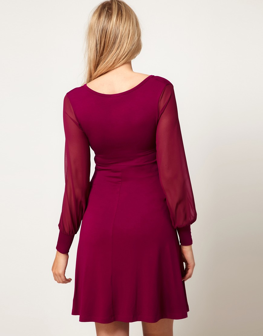 Image 2 of ASOS Maternity Exclusive Dress With Chiffon Sleeve