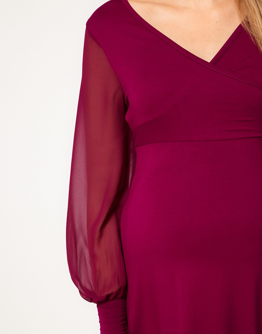 Image 3 of ASOS Maternity Exclusive Dress With Chiffon Sleeve