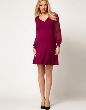 Image 4 ofASOS Maternity Exclusive Dress With Chiffon Sleeve