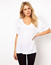 ASOS T-Shirt with Wide V Neck in Wash