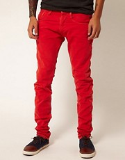 Replay Jeans Anbass Regular Slim Fit Red Overdye Denim