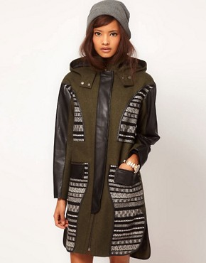 Image 1 ofASOS Limited Edition Jaquard Panelled Parka