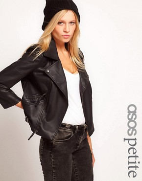 Image 1 ofASOS PETITE Leather Look Quilted Biker Jacket