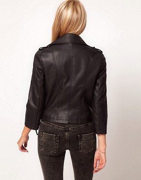 Image 2 ofASOS PETITE Leather Look Quilted Biker Jacket