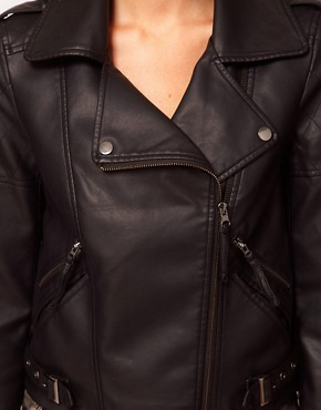 Image 3 ofASOS PETITE Leather Look Quilted Biker Jacket