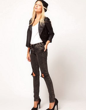 Image 4 ofASOS PETITE Leather Look Quilted Biker Jacket