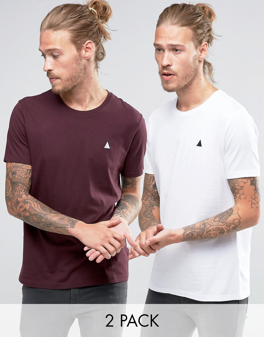 ASOS 2 Pack T-Shirt In White/Red With Logo SAVE - Multi
