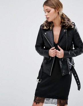 New Look Leather Look Biker Jacket Leopard Print Collar