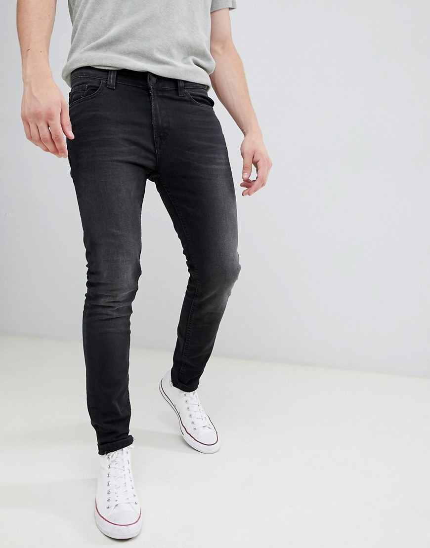 Only & Sons Jeans In Skinny Fit Washed Black - Black