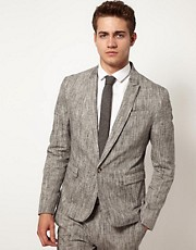 ASOS Slim Fit Suit Jacket in Linen