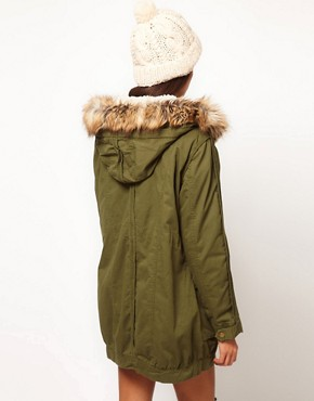 Image 2 ofASOS PETITE Fur Hooded Detachable Lined Parka