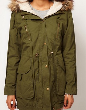 Image 3 ofASOS PETITE Fur Hooded Detachable Lined Parka