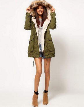 Image 4 ofASOS PETITE Fur Hooded Detachable Lined Parka