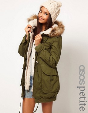 Image 1 ofASOS PETITE Fur Hooded Detachable Lined Parka