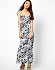 River Island Mono Print Waisted Maxi Dress