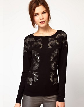 Image 1 of Warehouse Animal Print Embellished Sweater