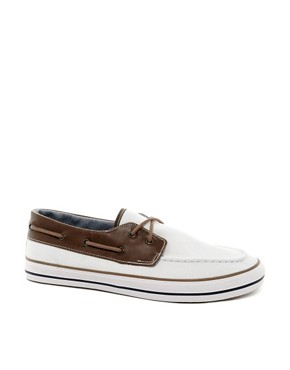 Image 1 ofASOS Boat Shoes in Herringbone Canvas