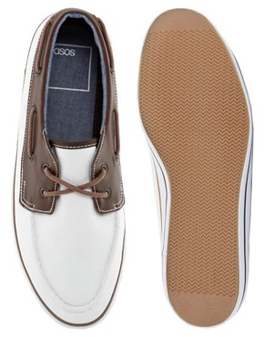 Image 3 ofASOS Boat Shoes in Herringbone Canvas