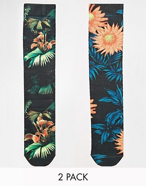 ASOS 2 Pack Socks With Floral Sublimation