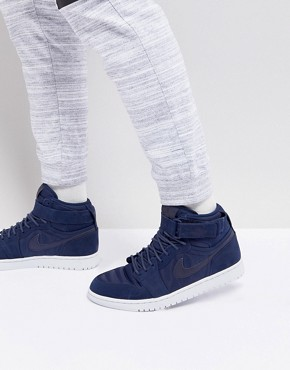 Nike Air Jordan 1 Retro High Strap Trainers In Navy 342132-400