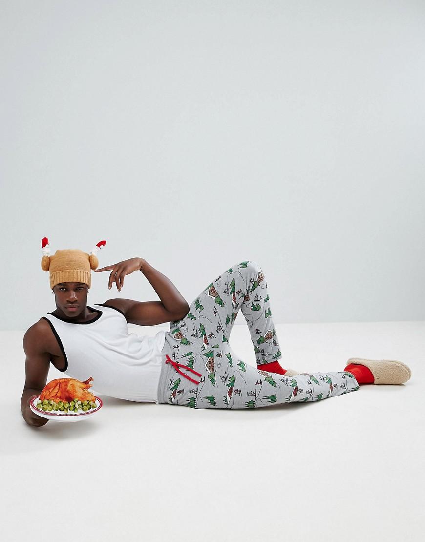 ASOS Christmas Pyjama Jogger Bottoms With Alpine Print thumbnail