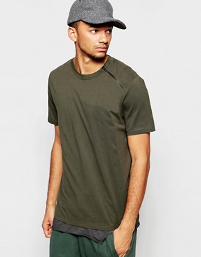 ASOS T-Shirt With Zip Shoulder In Relaxed Skater Fit