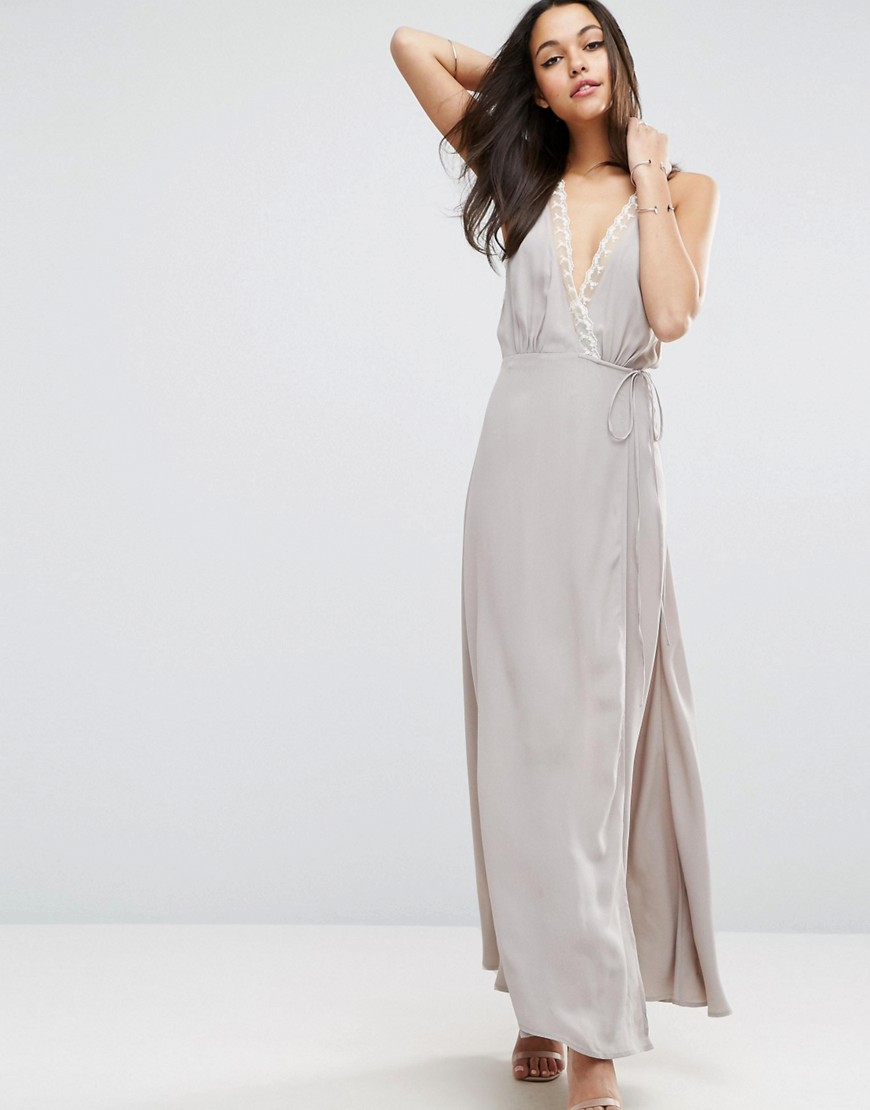 ASOS Lace Insert Cami Wrap Maxi Dress - Gray