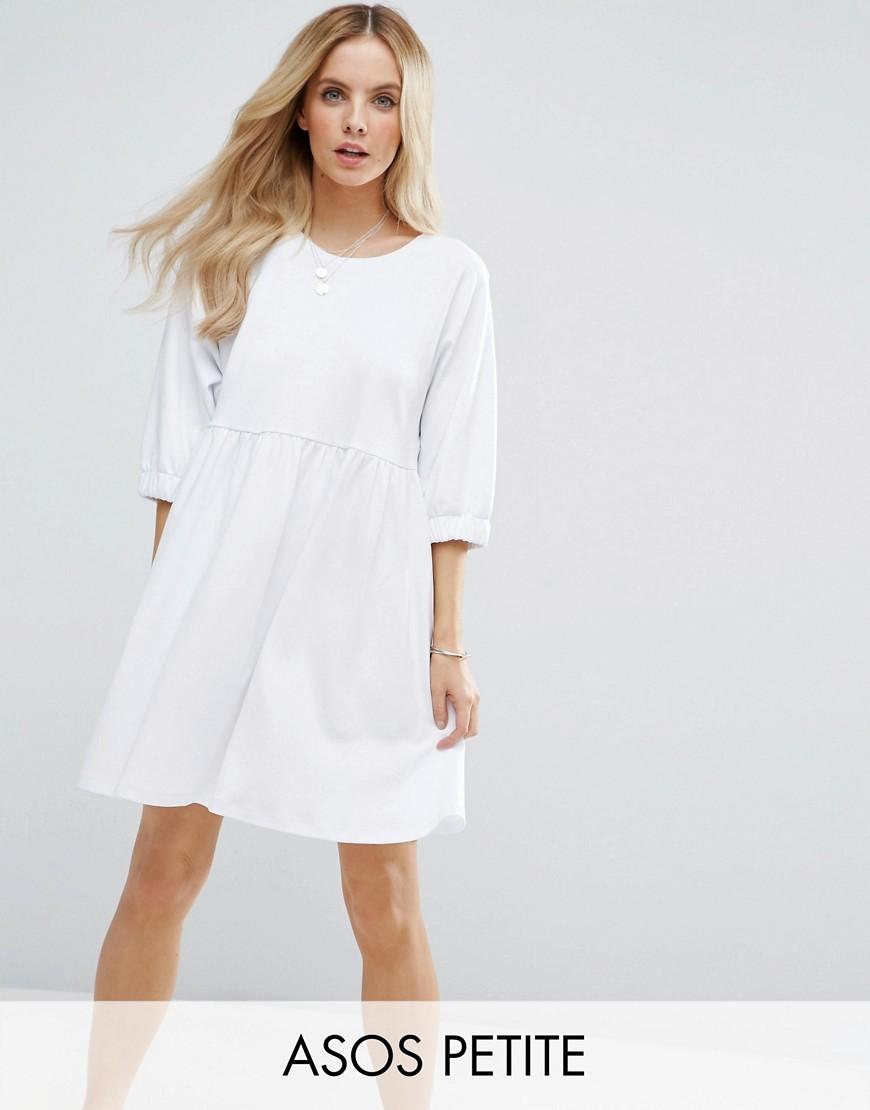 ASOS PETITE Cotton Smock Dress with Elastic Cuff Detail - White