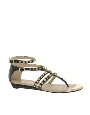 Image 1 ofRiver Island Gladiator Studded Flat Sandals