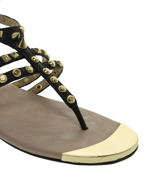 Image 2 ofRiver Island Gladiator Studded Flat Sandals