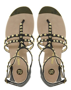 Image 4 ofRiver Island Gladiator Studded Flat Sandals