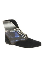 Osborn Flat Foldover Black Lace Ankle Boots