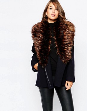 French Connection Mia Wool Coat with Detatchable Fur Collar