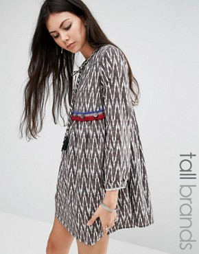 Glamorous Tall Chevron Printed Smock Dress With Coin Trim And Tassel Detail