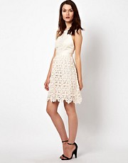 Warehouse Heavy Lace Cross Back Dress