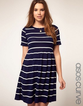 Image 1 of ASOS CURVE Knitted Dress In Stripe