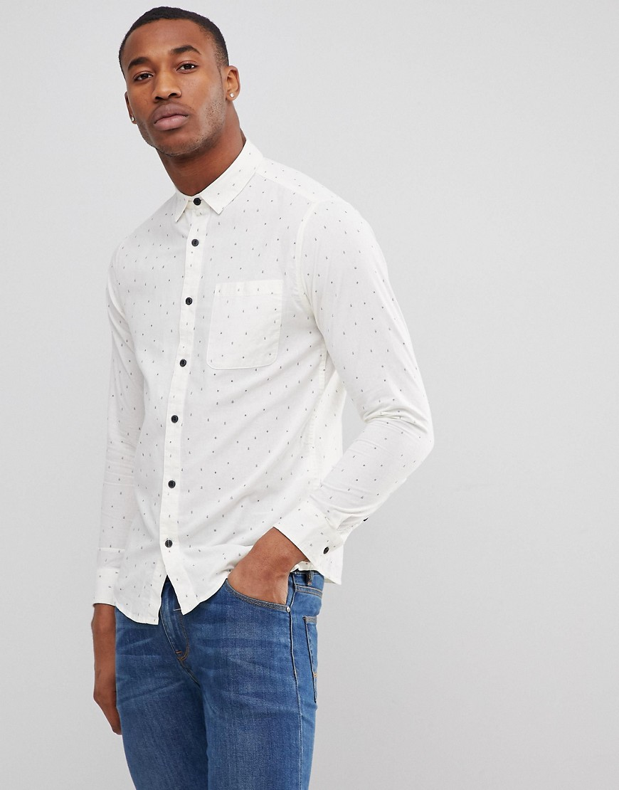 Only & Sons Shirt in Slim Fit All Over Ditsy Print - White