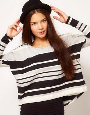Image 1 ofPeople Tree Organic Cotton Stripe Wide T Shirt