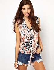 ASOS Sleeveless Jacket in Floral Print