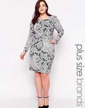 Club L Plus Bodycon Midi Dress in Lace Print