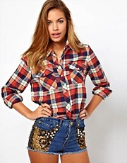 Glamorous Western Check Shirt with Popper Studs