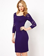 Coast Dionne Knitted Dress with Lace Inserts