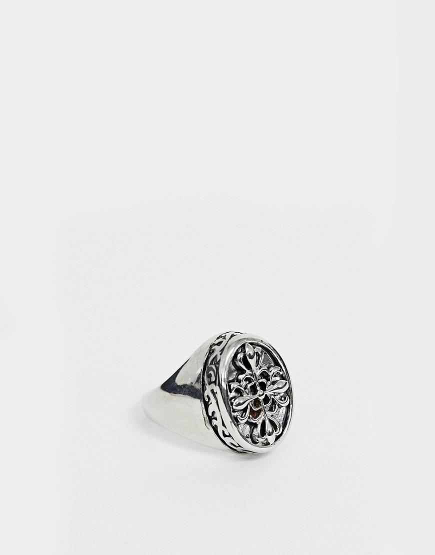 Uncommon Souls - Siegelring mit Kreuzdesign in Silber - Silber | Schmuck > Ringe > Siegelringe | Silber | Uncommon Souls